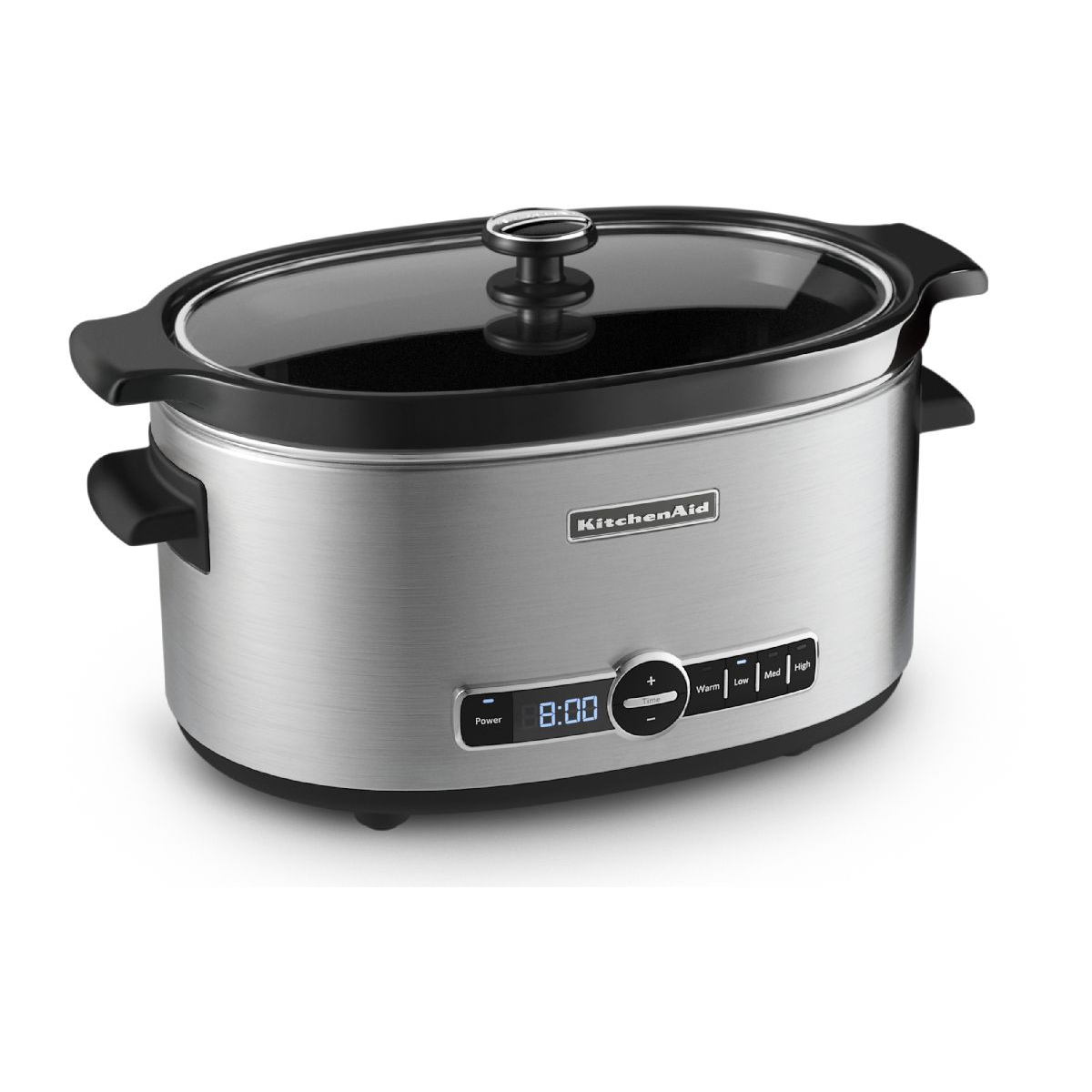 KitchenAid Stainless Steel Finished 6 Quart Slow Cooker with Glass Lid