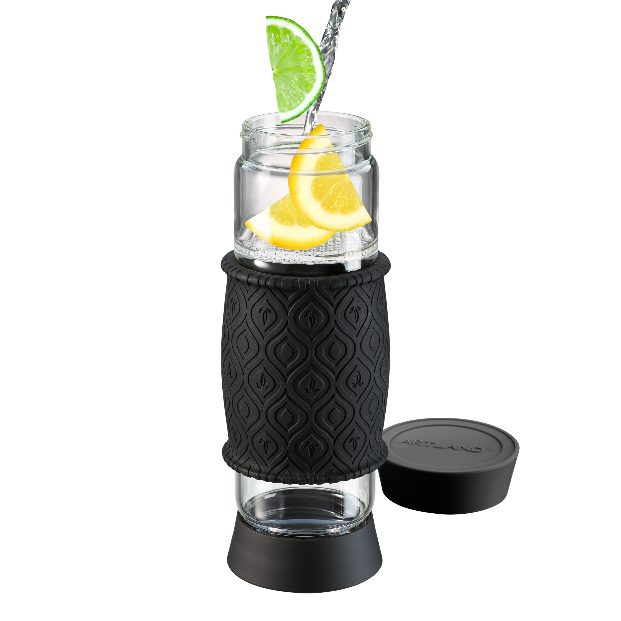 Artland Glass 20 Ounce T2GO Infuser Bottle with Black Silicone