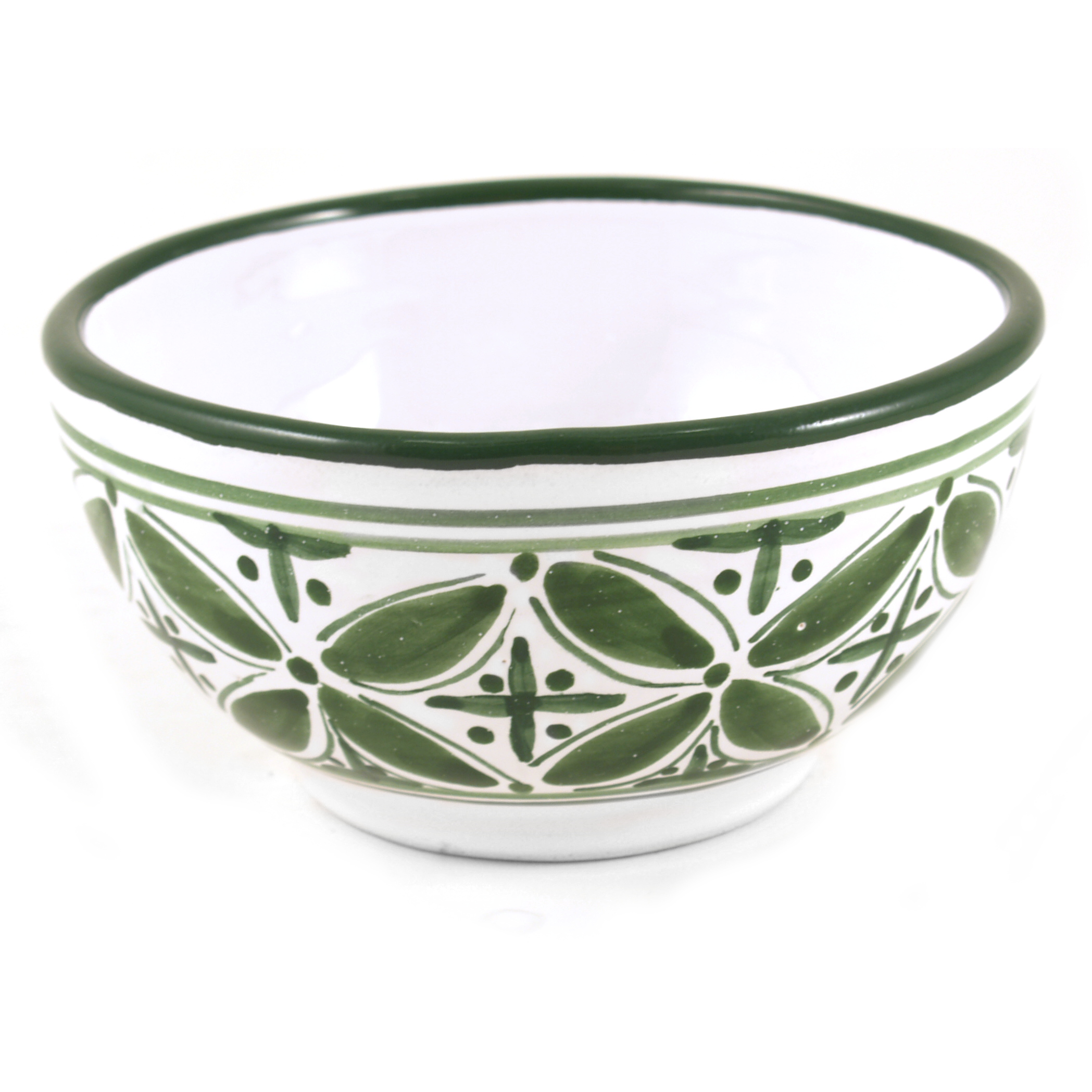 Sobremesa Fairtrade Fez Collection Handmade White and Green Ceramic Serving Bowl