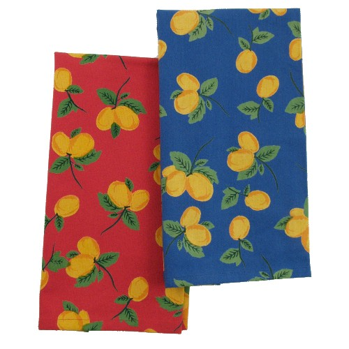 Blue and Red Lemon Kitchen Dish Towel - Set of 4