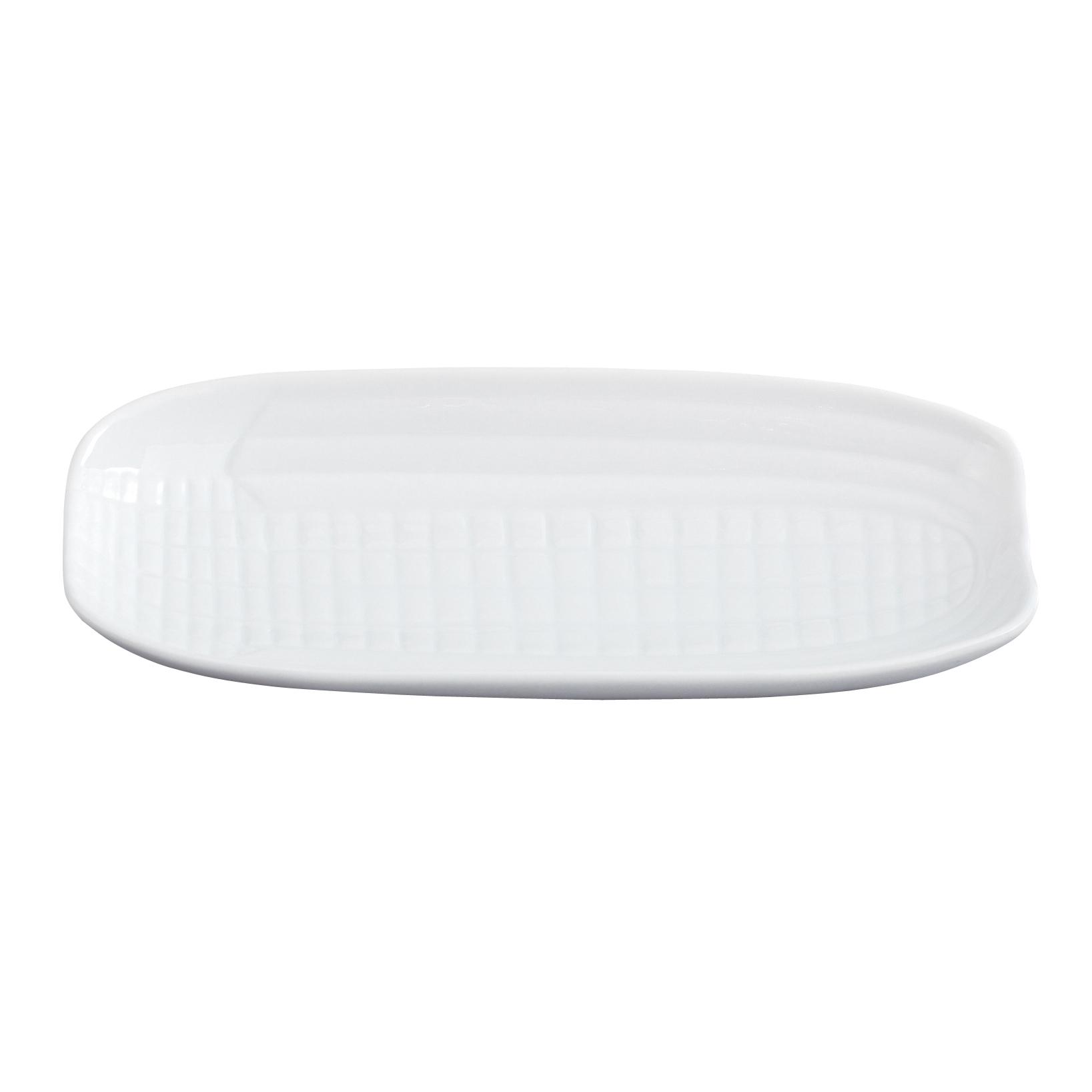 White Porcelain Corn Cob Tray