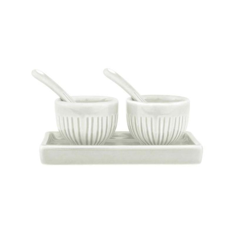 Zak Design 5 Piece White Stoneware Salt and Pepper Set