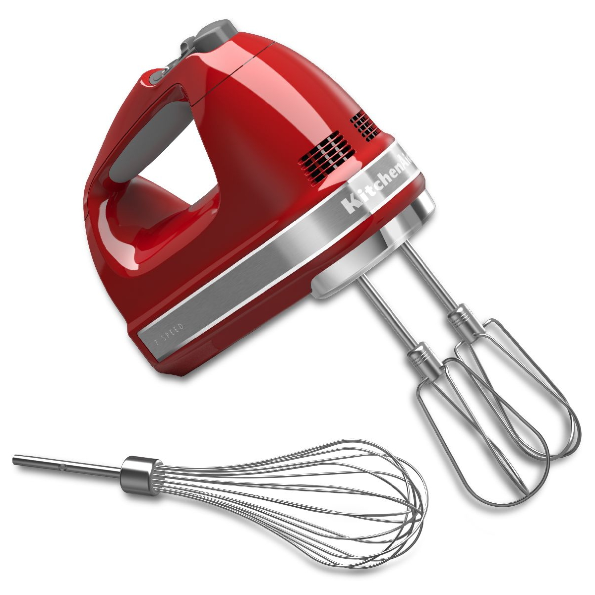 KitchenAid Empire Red 7 Speed Digital Hand Mixer with Turbo Beater II Accessories and Pro Whisk