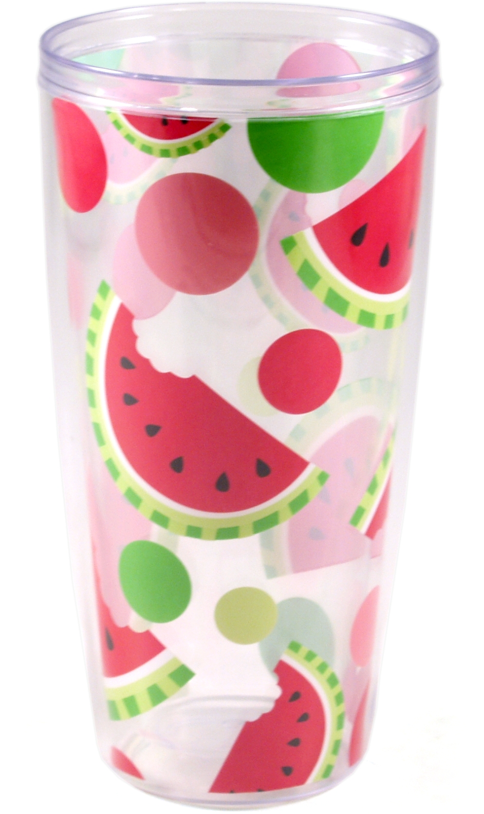 Boston Warehouse Picnic Party Watermelon 24 Ounce Insulated Tumbler, Set of 4