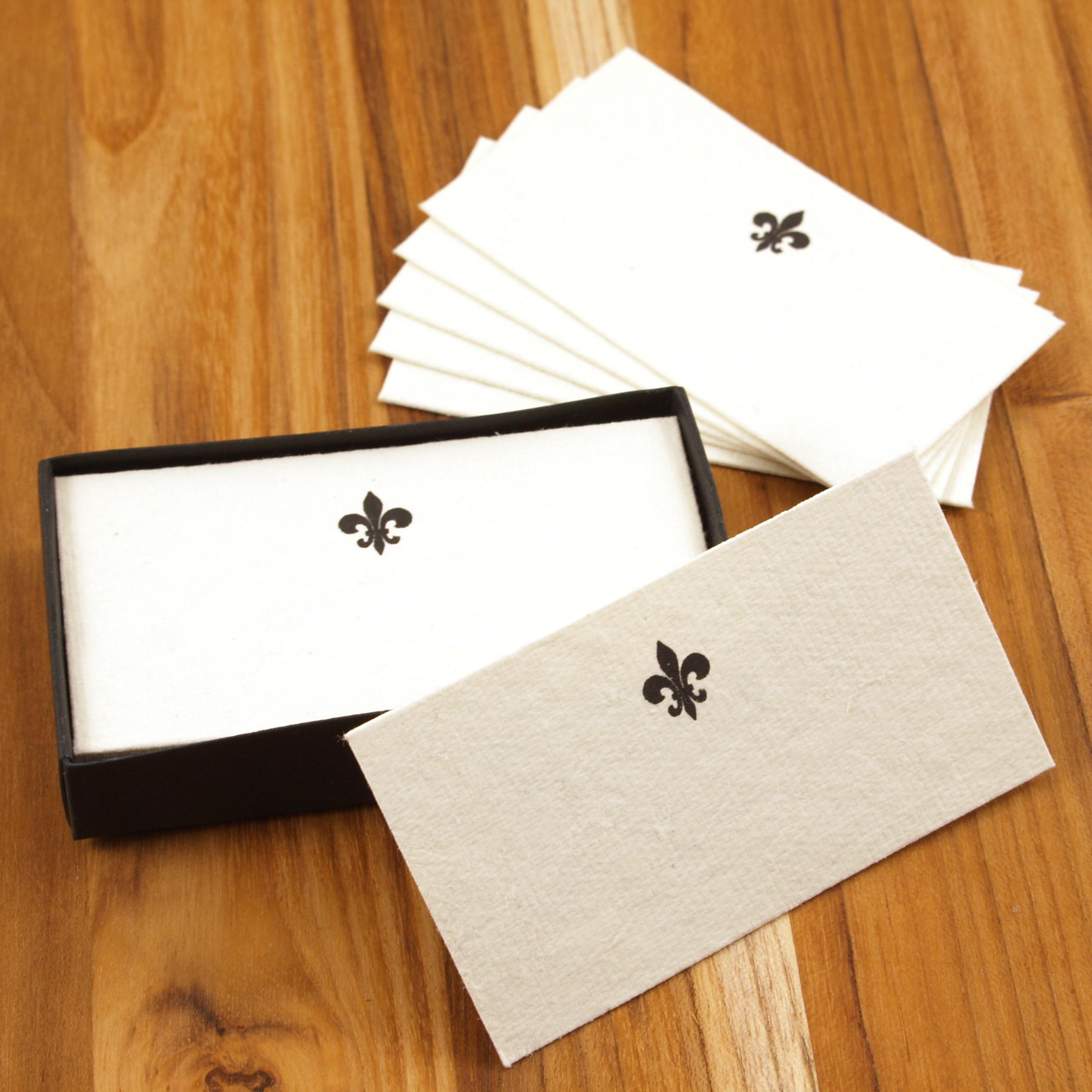 Homart Fleur de Lys Printed Handmade Paper Card, Set of 32