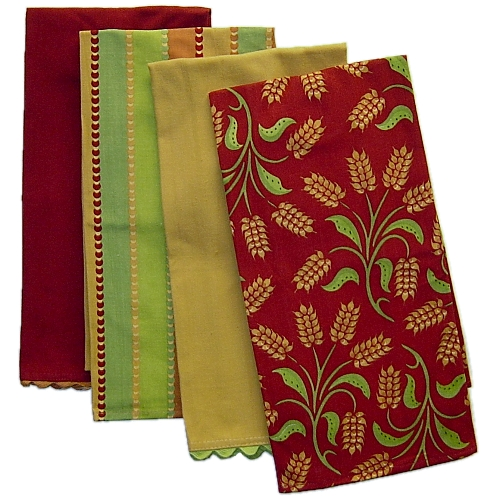 Autumn Harvest Wheat Kitchen Towel - Set of 4