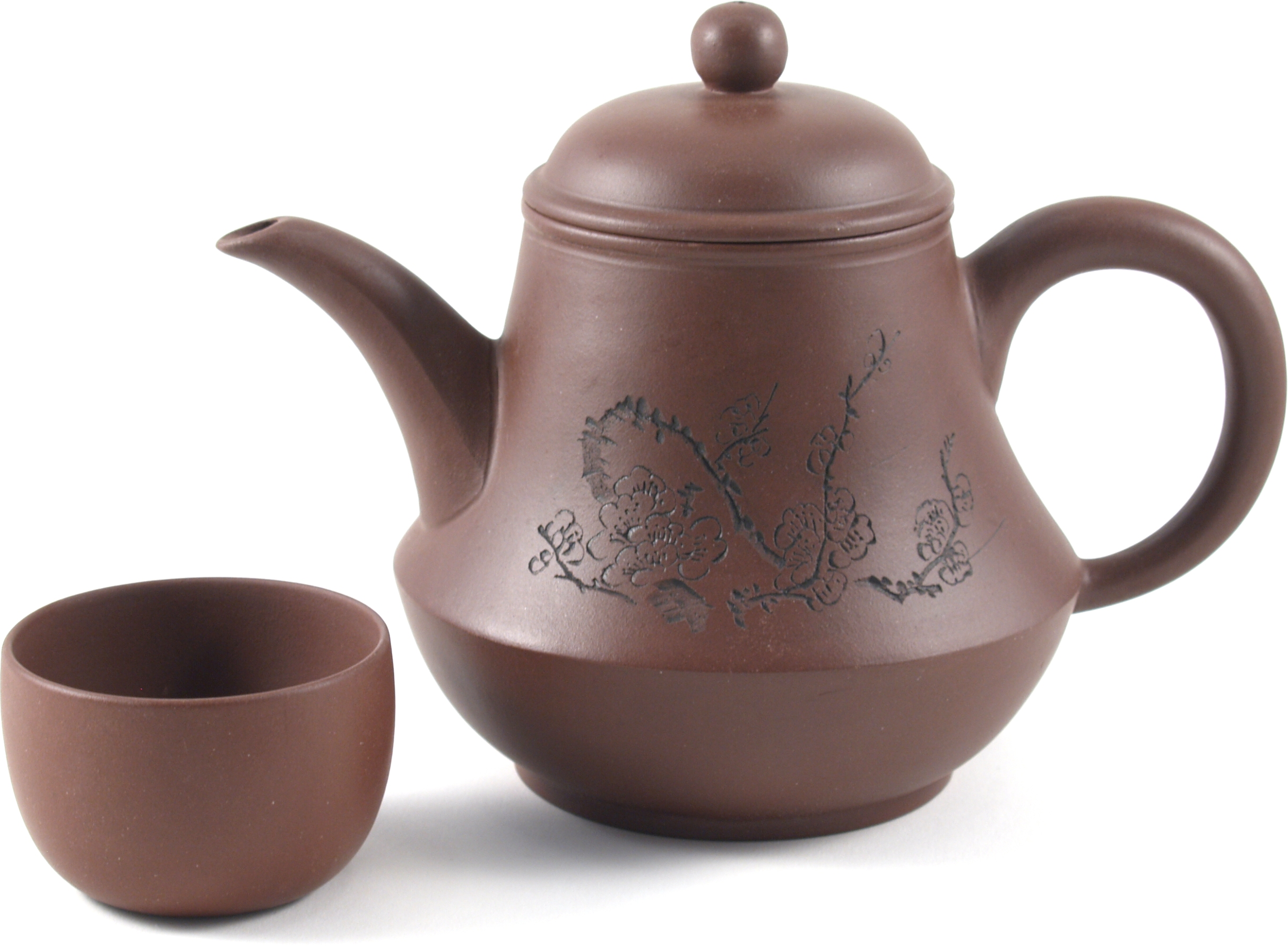 Light Brown Yixing Teapot with Flower Etchings and 4 Teacups