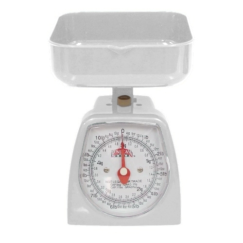 White Kitchen Countertop Scale, 11 Pound Capacity Postal
