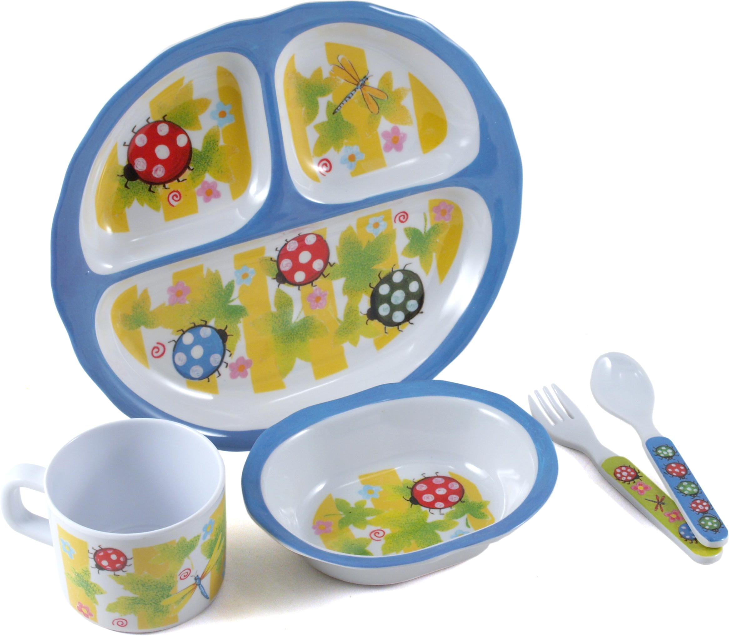 Home Essentials Kids Bugaboo Melamine 5 Piece Oval Dinnerware Set