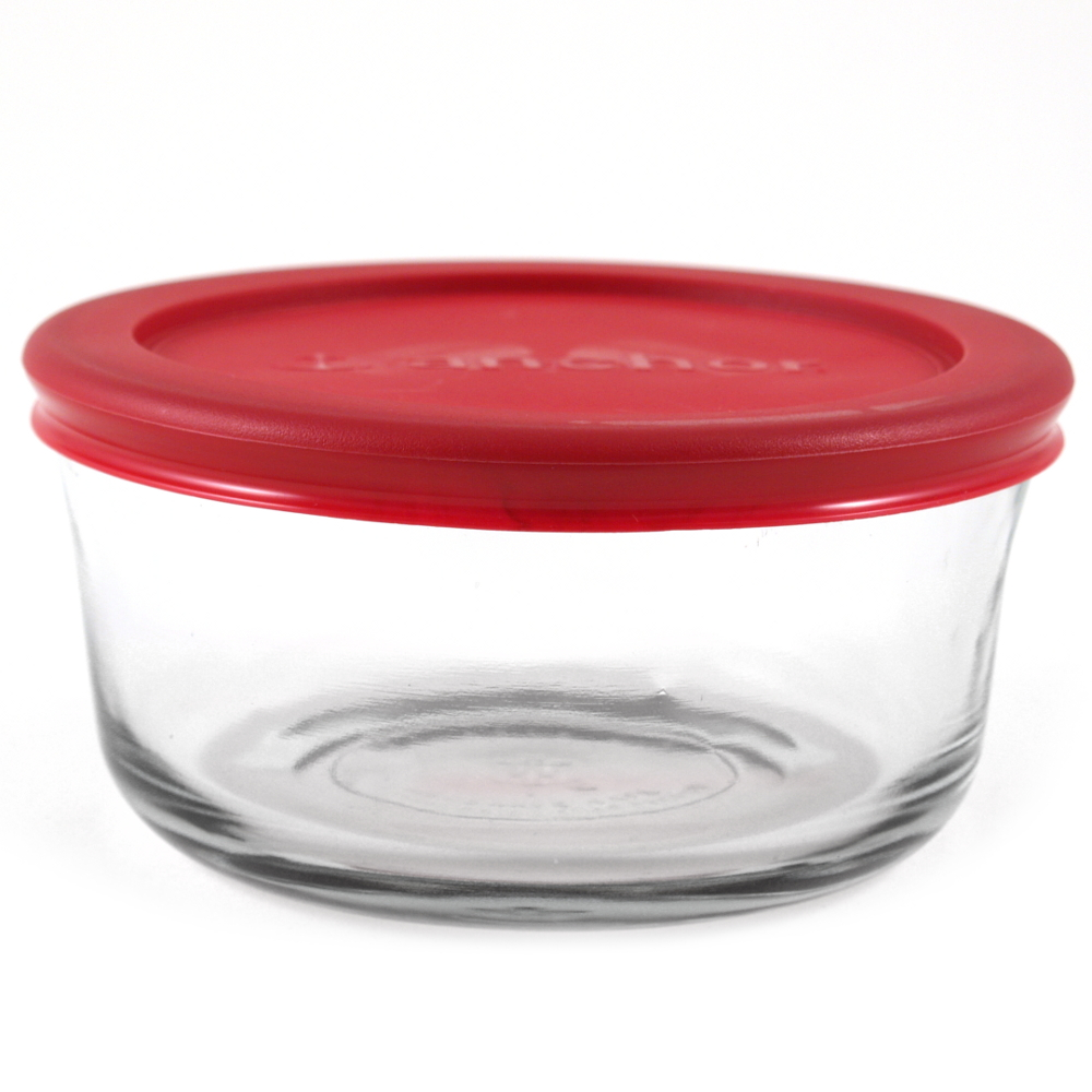Anchor Hocking Round Glass Storage Container with Red Plastic Lid, Set of 3
