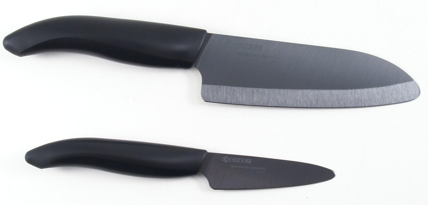 Kyocera Revolution Black Ceramic Paring Knife and Santoku Knife Set