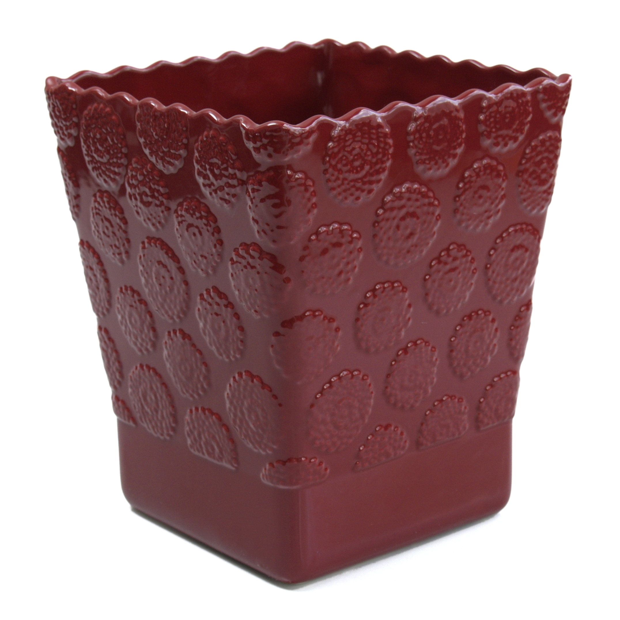 Allure Stella Red Ceramic Square Wastebasket