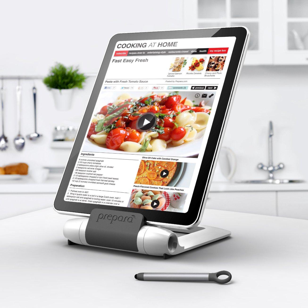 Prepara iPrep Adjustable White Tablet Stand with Stylus