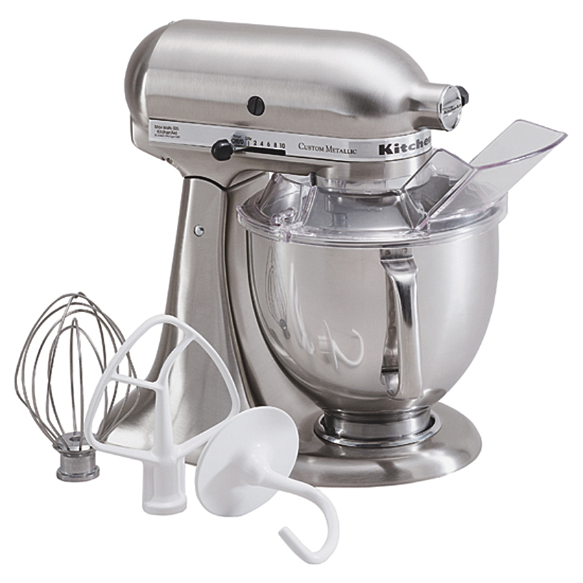 KitchenAid Metallic Series Brushed Nickel 5 Quart Tilt Head Stand Mixer with Stainless Steel Bowl