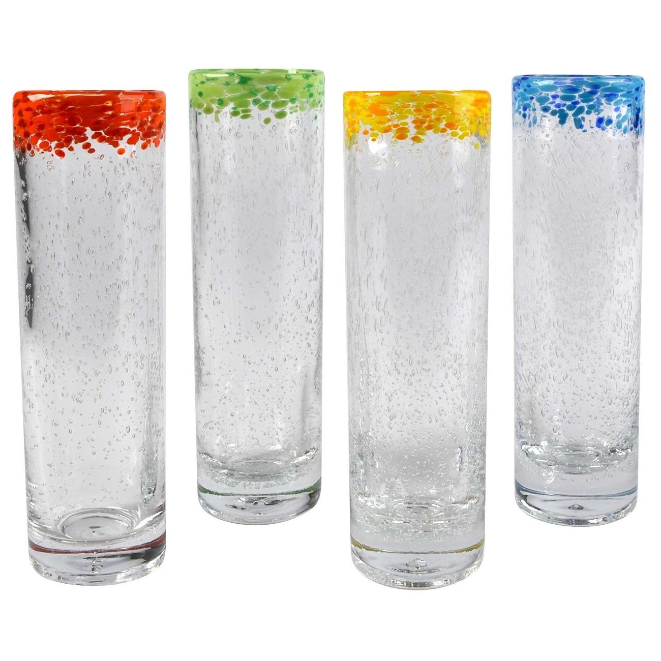 Artland Mingle 12 Ounce Cooler Glass with Reusable Straw, Set of 4