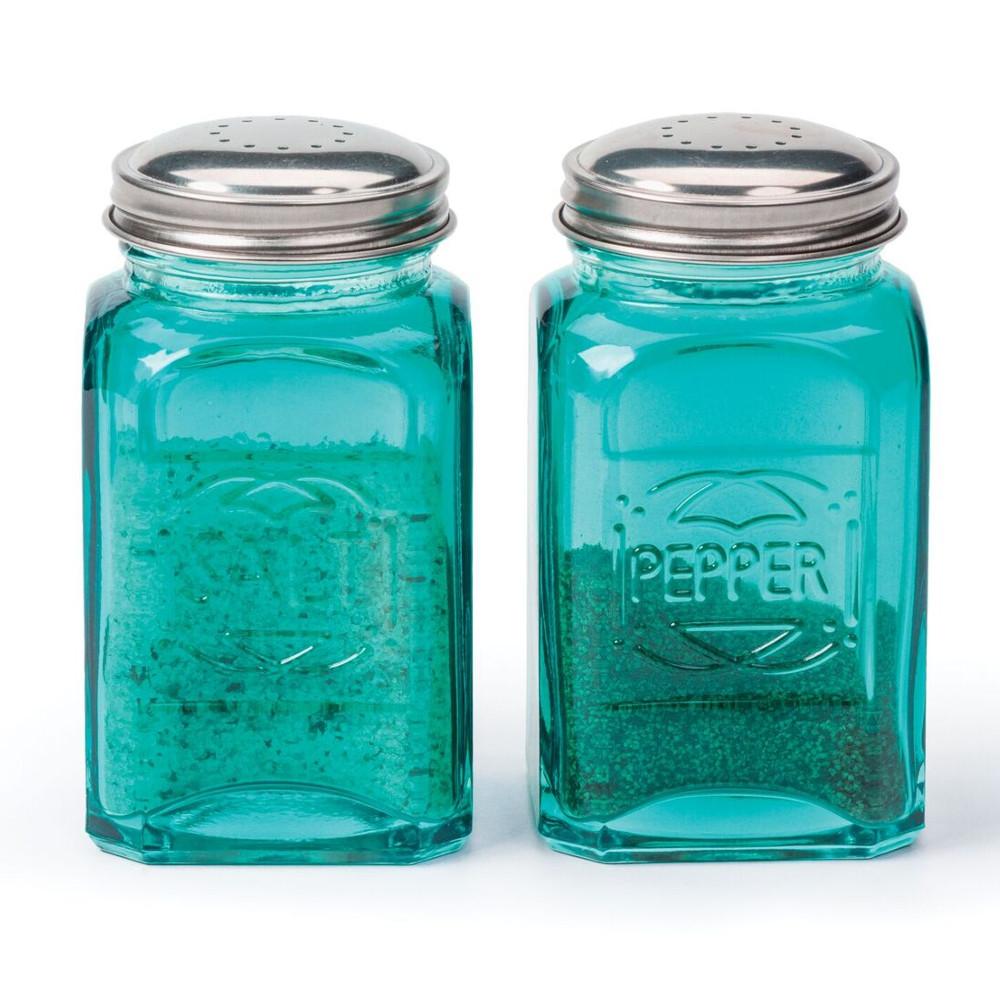 RSVP Turquoise 8 Ounce Retro Salt and Pepper Shaker Set