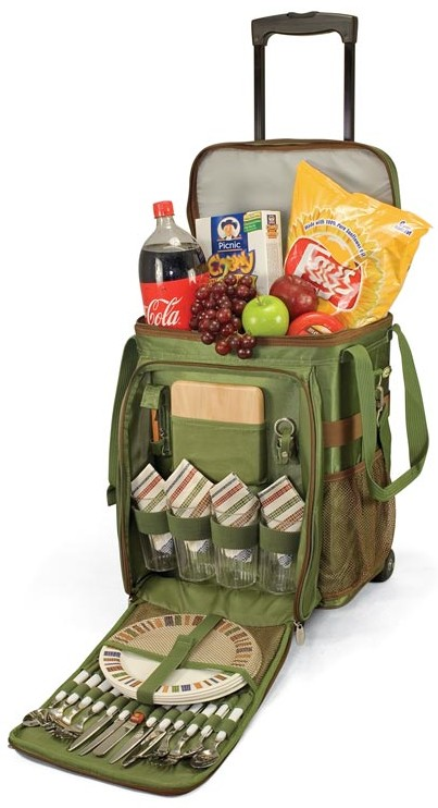 Picnic Time Pine Green Avalanche Cooler on Wheels with Four Placesettings