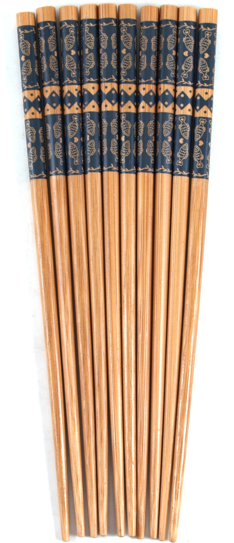 Asian Blue Fish Bamboo Chopsticks, 5 Pair