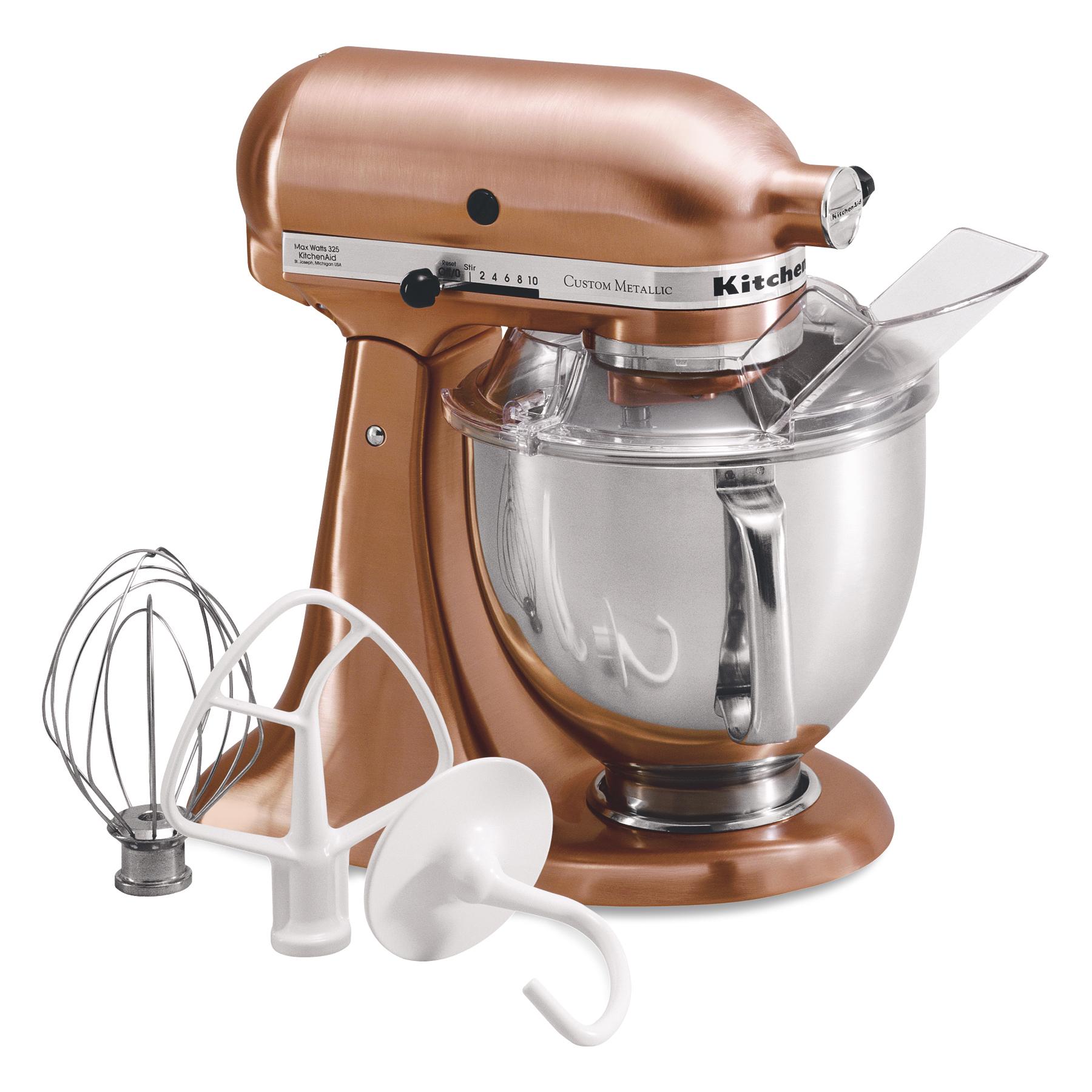 KitchenAid Metallic Series Satin Copper 5 Quart Tilt Head Stand Mixer with Stainless Steel Bowl