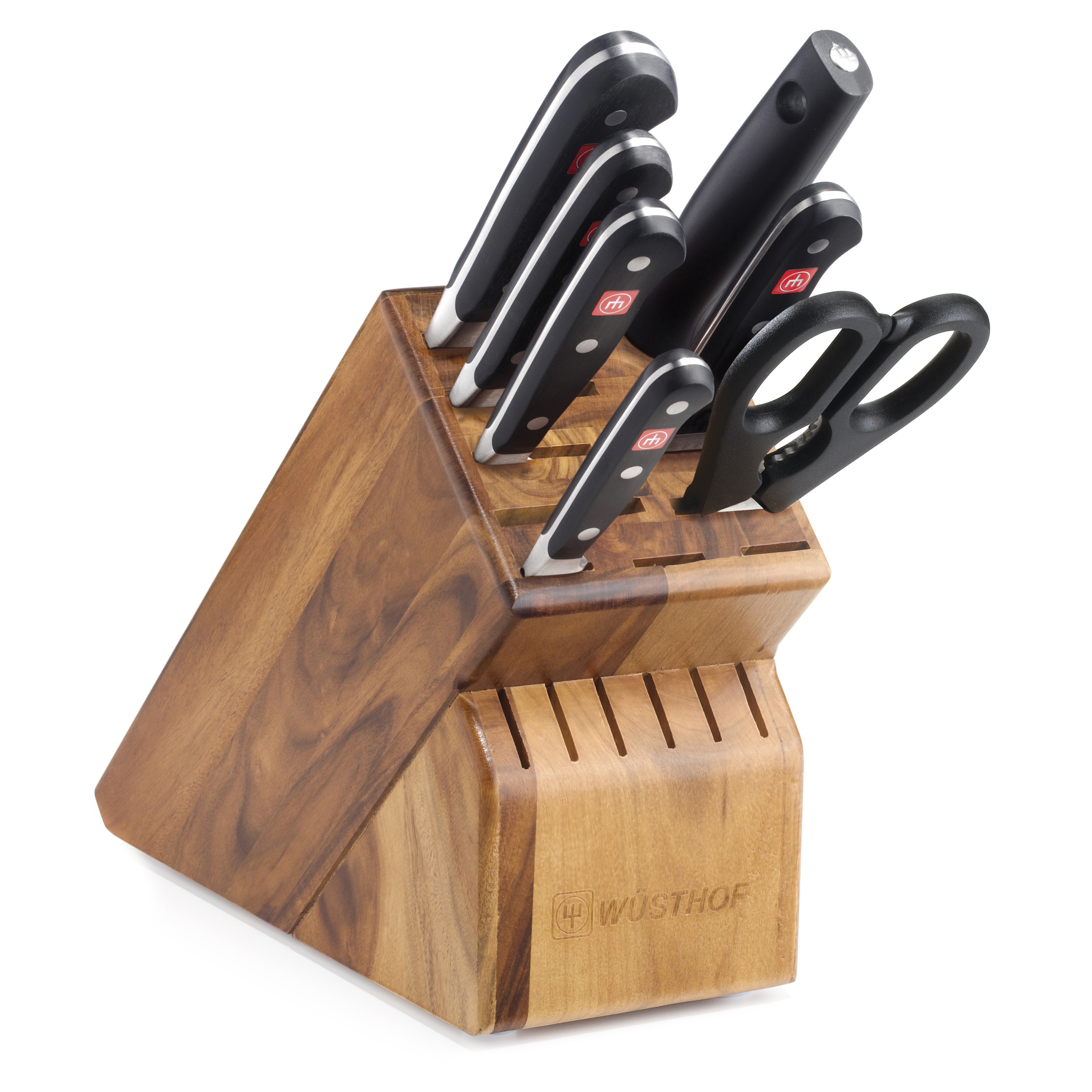 Wusthof Classic 8 Piece Deluxe High Carbon Steel Knife and Acacia Wood Block Set