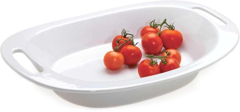 Essentials 2 Piece White Ceramic Serving Bowl and Platter Set, Service for 1