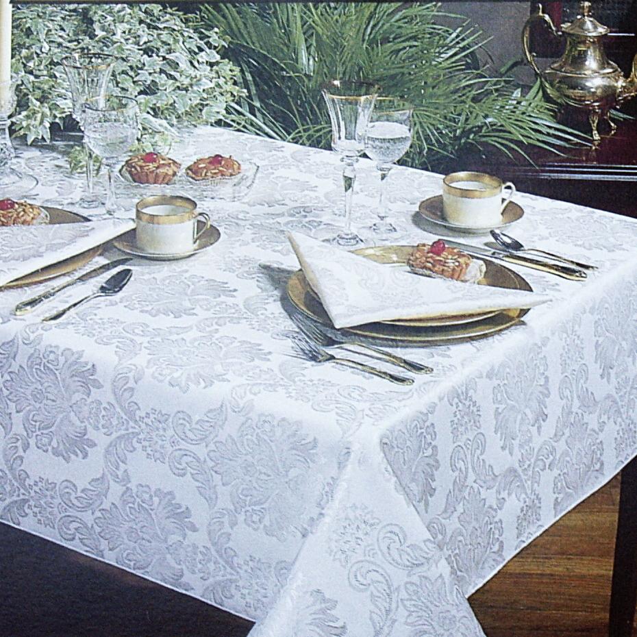 Regency Ecru Damask Round Tablecloth, 70 Inch
