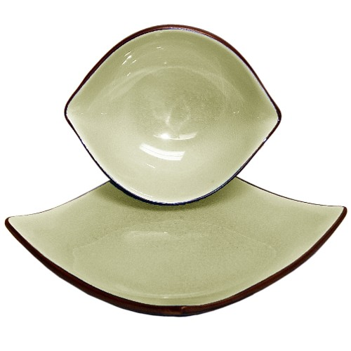 4 Piece Crackled Porcelain Bone Asian Bowl and Plate Set, Service for 2