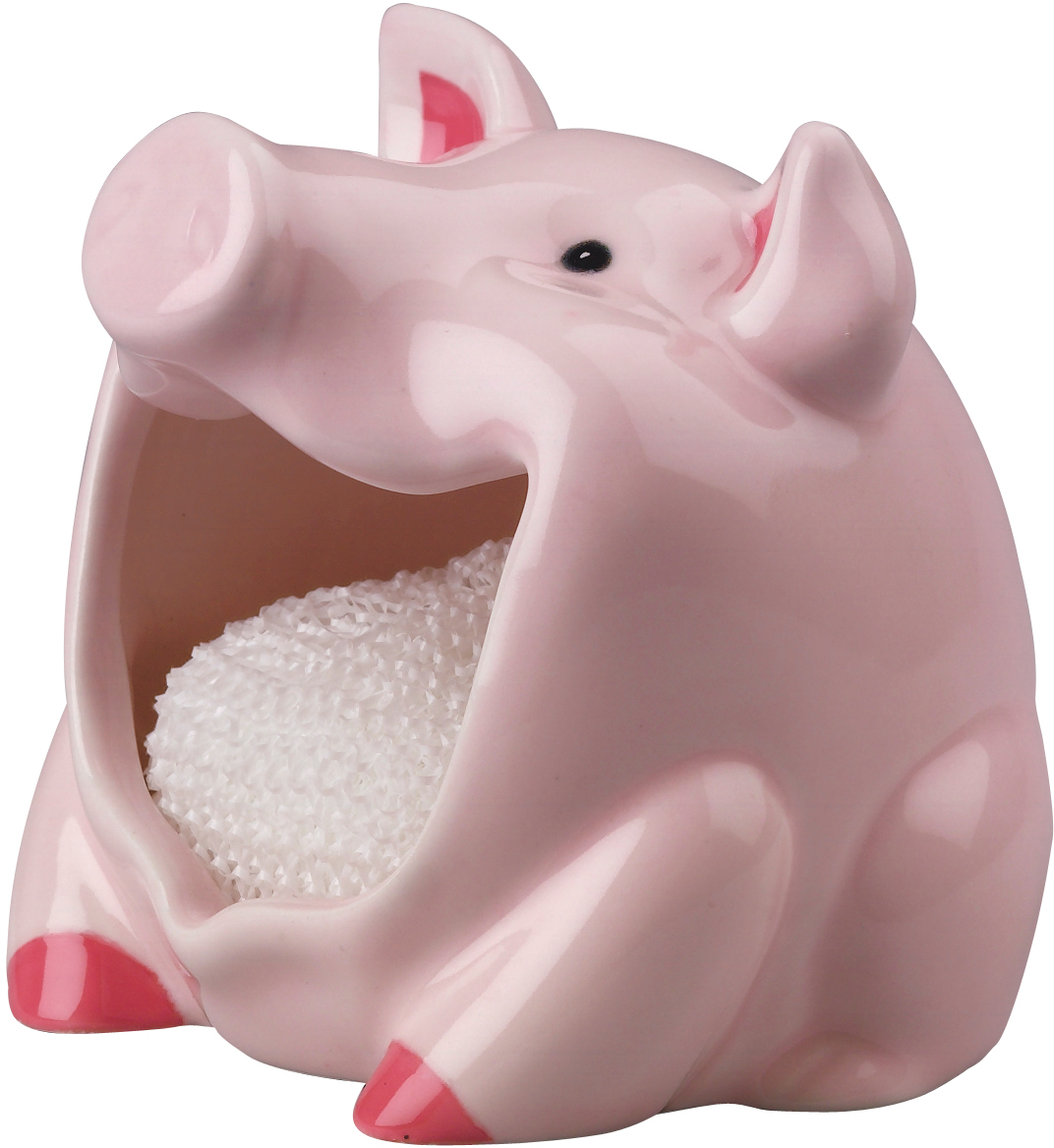 Boston Warehouse Pink Earthenware Pig Scrubby Holder