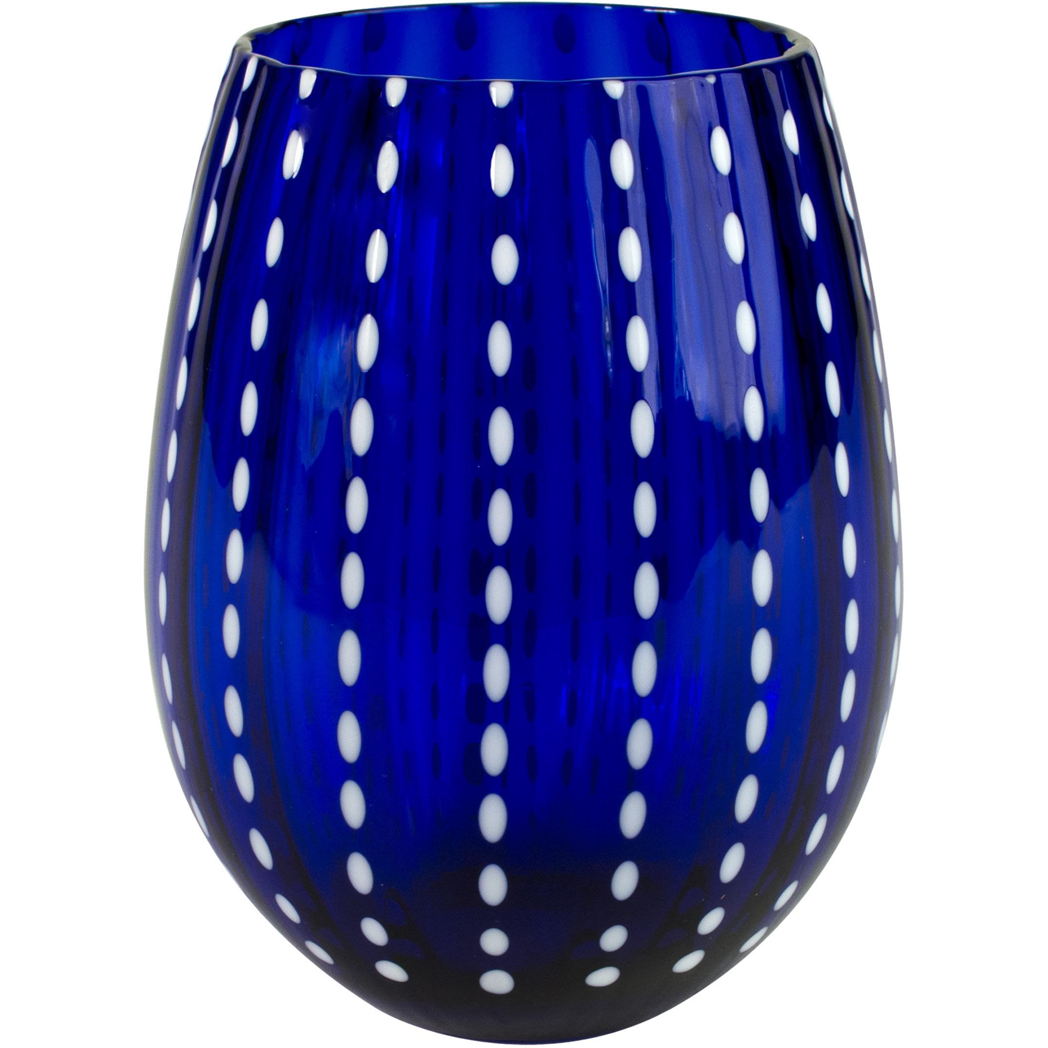 Artland Cambria Cobalt Stemless Tumbler Drinking Glass, 17 Ounce