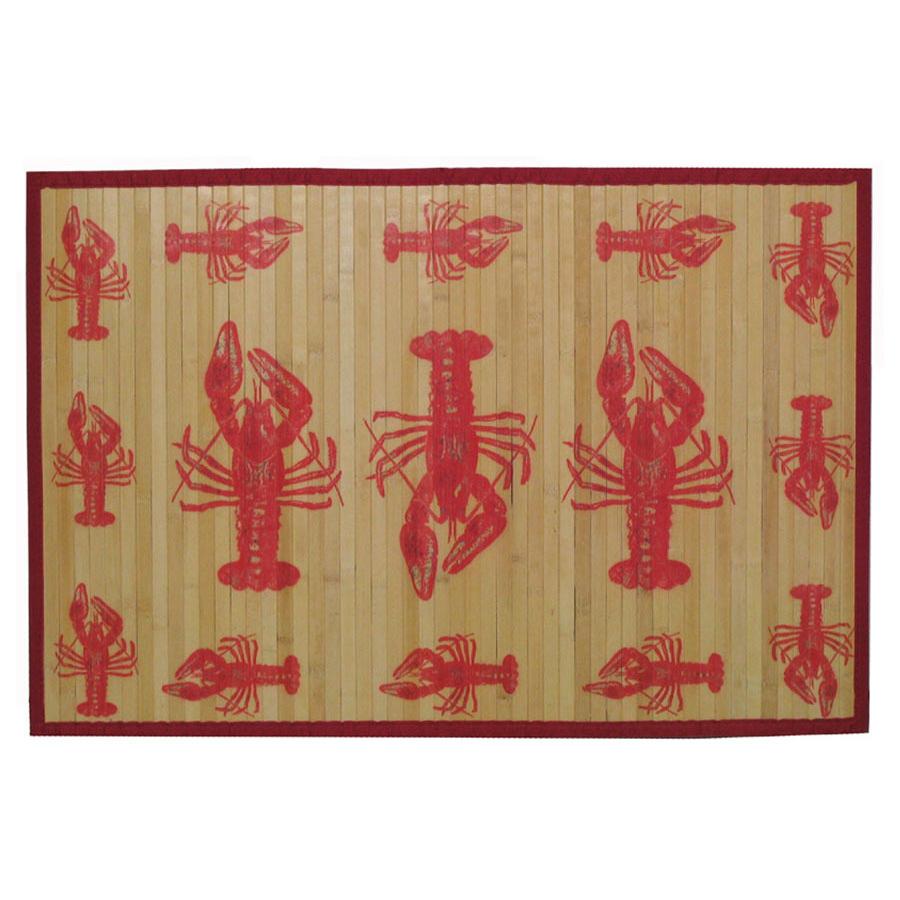 Sunday Morning Home Veranda Lobster Bamboo 3 x 5 Foot Indoor Mat