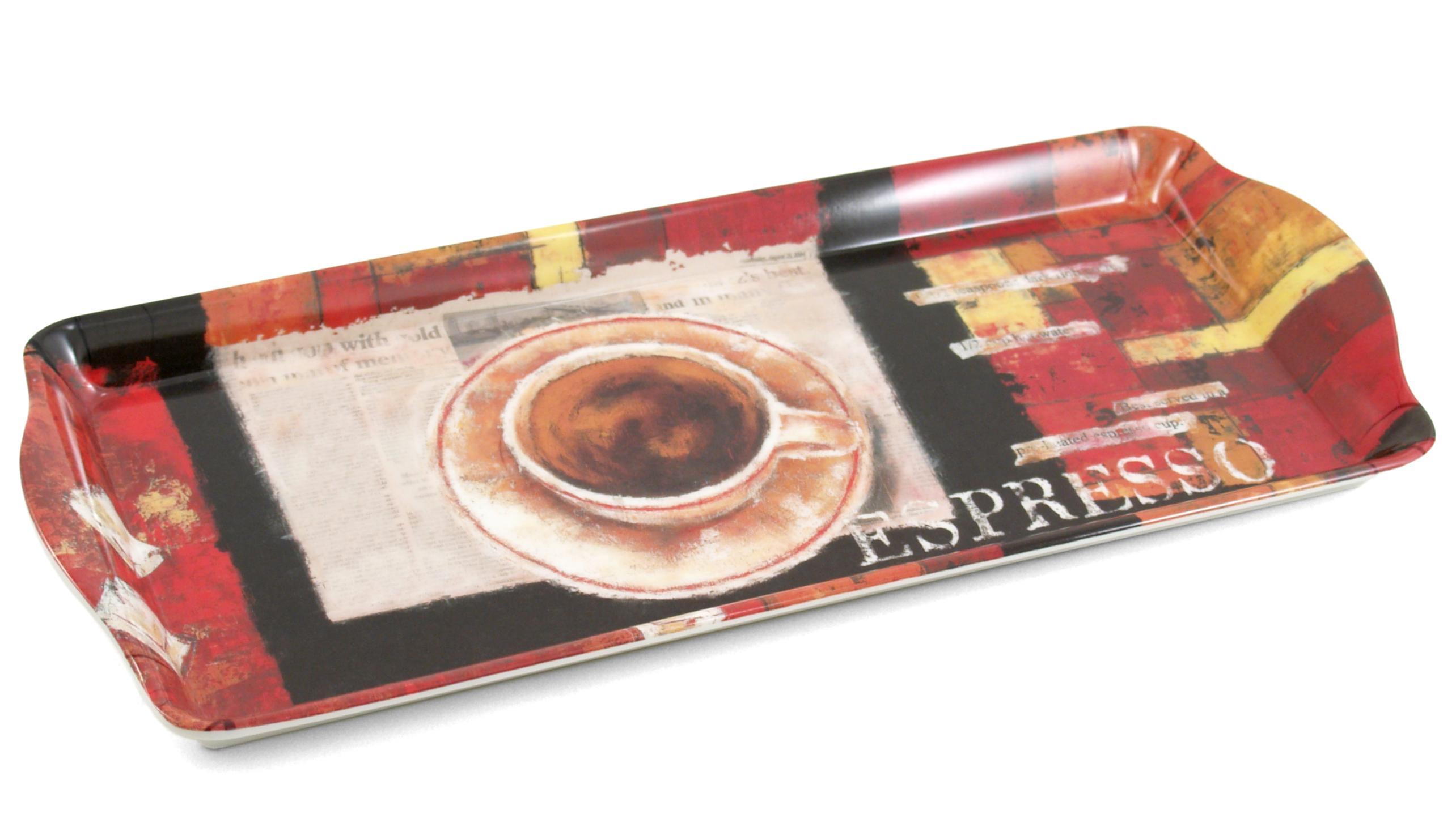 Melamine Serving Tray with Espresso Cafe Printed Design, 15 x 6.75 Inch
