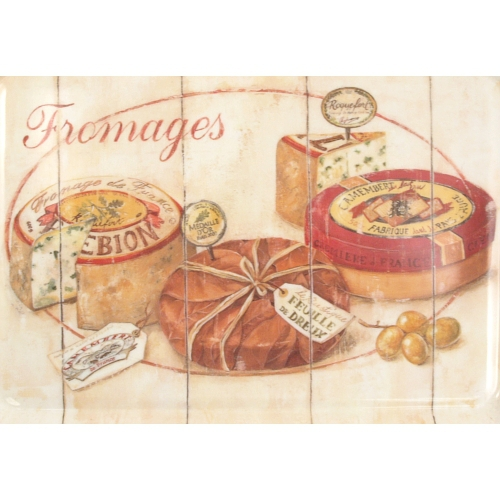Melamine Serving Tray with Gourmet French Cheese Printed Design, 15 x 6.75 Inch