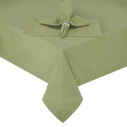 Hemstitch Sage Green Round Fabric Tablecloth, 70 Inch