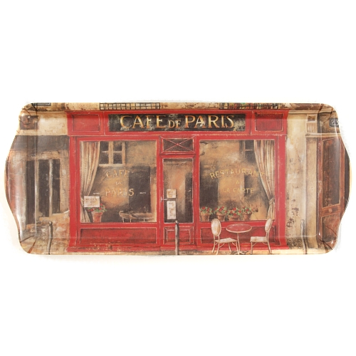 Melamine Serving Tray with Cafe Paris Printed Design, 15 x 6.75 Inch