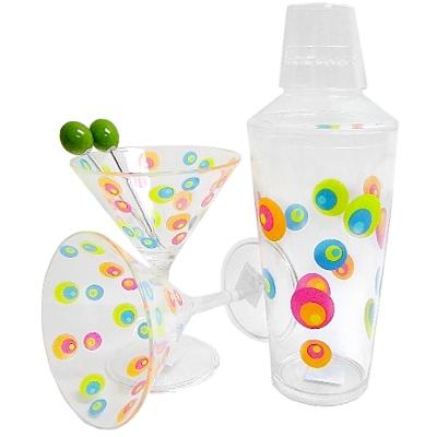 Mulit-Color Retro Dots Acrylic Clear Martini Shaker