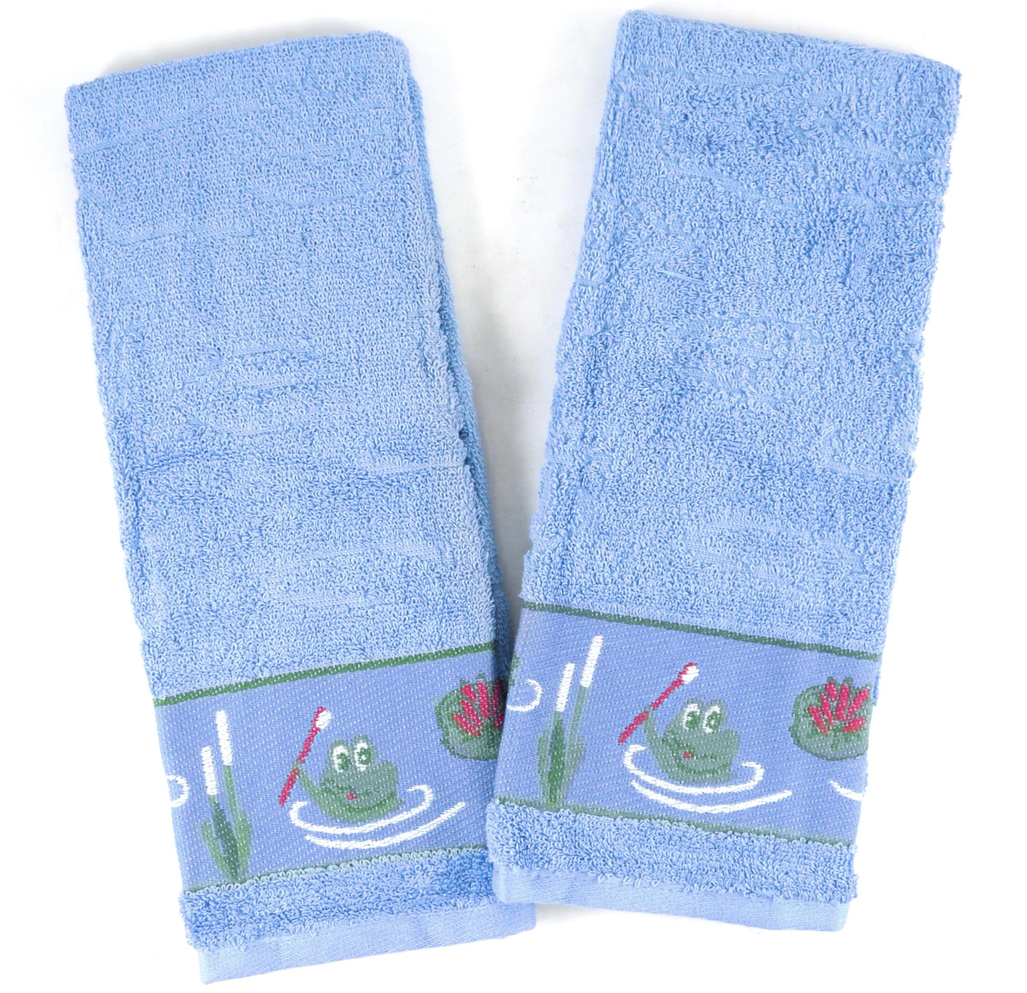 Froggy 5 Piece Blue Washcloth, Hand and Bath Towel Set