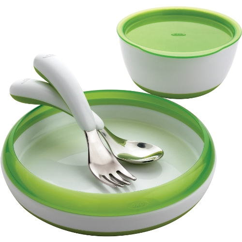 OXO Tot Green and White 4 Piece Feeding Set