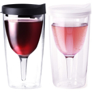 Vino2Go 10 Ounce Business Black and Ice Clear Acrylic Insulated Wine Tumbler with Slide Lid, Set of 2