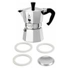 Bialetti Moka Express Aluminum 3 Cup Stove-top Espresso Maker with Replacement Filter and Gaskets