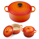 Le Creuset Signature Flame Enameled Cast Iron 3.5 Quart Round French Oven with 2 Free Stoneware Cocottes