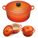 Le Creuset Signature Flame Enameled Cast Iron 7.25 Quart Round French Oven with 2 Free Stoneware Cocottes