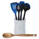 Le Creuset White Stoneware 1 Quart Utensil Crock with Revolution Marseille Blue and Beechwood Utensil Set