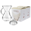 Chemex Glass 40 Ounce Coffee Maker with Cover and 200 Count Oxygen Cleansed Bonded Square Coffee Filters