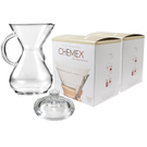 Chemex Glass 40 Ounce Coffee Maker with Cover and 200 Count Bonded Circle Coffee Filters