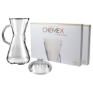 Chemex Glass 15 Ounce Coffee Maker with Cover and 200 Count Bonded Half Circle Coffee Filters