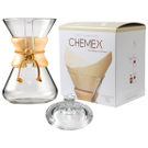 Chemex Classic Wood Collar and Tie Glass 30 Ounce Coffee Maker with Cover and 100 Count Bonded Unbleached Pre-Folded Square Coffee Filters