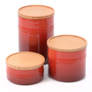 Le Creuset Cerise Cherry Stoneware 3 Piece Canister with Wooden Lid Set