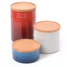 Le Creuset Patriotic Color Stoneware 3 Piece Canister with Wooden Lid Set