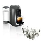 Breville Nespresso VertuoPlus Deluxe Titan Coffee Machine with Free Set of 6 Espresso Glasses