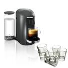 Breville Nespresso VertuoPlus Gray Coffee Machine with Free Set of 6 Espresso Glasses